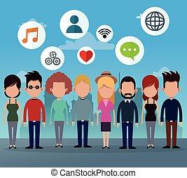 grupa, sieć, ludzie, media, ikony, towarzyski