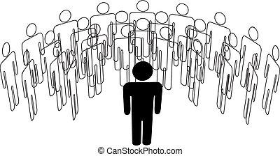 grupa, stoi, ludzie, mówiący, przód, lider