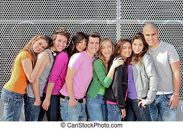 grupa, studenci, albo, rozmaity, wiek dojrzewania, campus