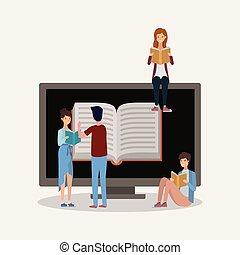 grupa, studenci, czytanie, książki