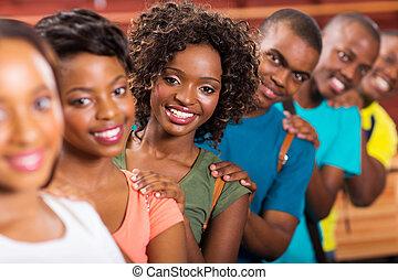 grupa, studenci, do góry, kolegium, afrykanin, kreska
