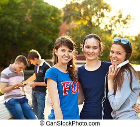 grupa, studenci, katalogi, nastolatki, outdoors, albo