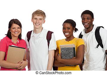 grupa, studenci, książki, kolegium, tło, multi-rasowy, biały, backpacks