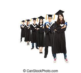 grupa, studenci, młody, absolwent, asian, szczęśliwy