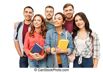 grupa, studenci, wpływy, książki, uśmiechanie się, selfie
