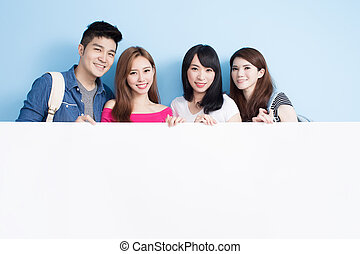 grupa, student, szczęśliwy