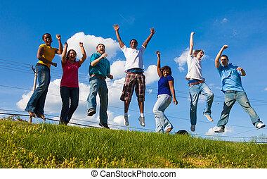 grupa, students/friends, skokowy, powietrze, rozmaity, kolegium