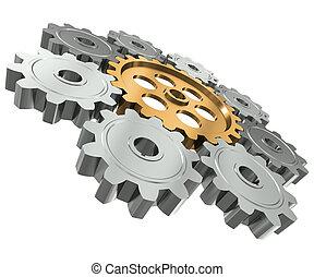 grupa, symbol, praca zaprzęg, gears., lider