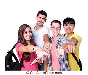 grupa, szczęśliwy, studenci