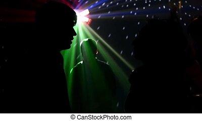 grupa, taniec, przyjaciele, nightclub, balony, rzucić, ...