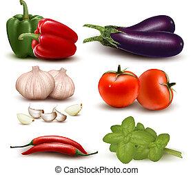 grupa, vegetables., barwny, cielna, wektor, illustration.