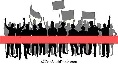 grupa, wektor, sylwetka, strona protestująca
