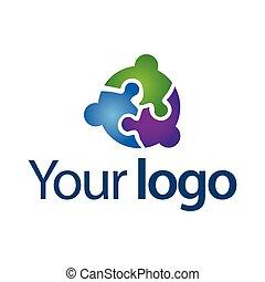 grupa, work., pracujący, ludzie., razem., vector., drużyna, logo
