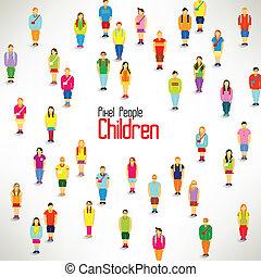 grupa, zbierać, wielki, wektor, projektować, dzieci