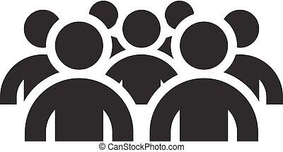 grupal, apartamento, negócio, concept., foco, icon., design.