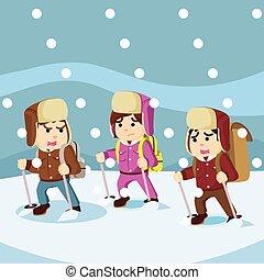 grupo, ártico, nieve, entretela, tormenta, exploler
