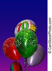grupo, 70th, aniversário, balloons.