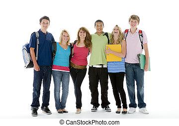 grupo, adolescente, crianças, tiro, escola