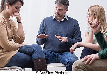 grupo, ajuda, expresso, emoções, sessão, terapia, lata