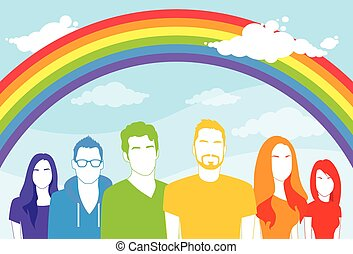 grupo, alegre, gente, mismo, sexo, hombre, lesbiana, mujeres