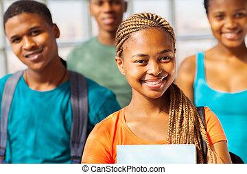 grupo, americano, faculdade, africano, amigos menina