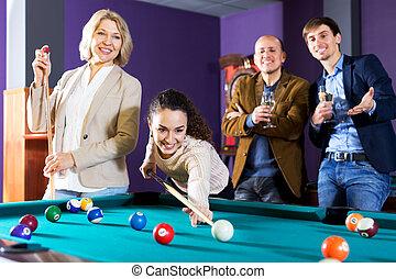 grupo, amigos, billar, juego