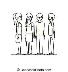 grupo, amigos, caráteres
