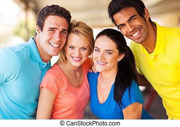 grupo amigos, closeup, retrato