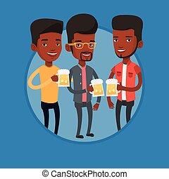 grupo amigos, desfrutando, cerveja, em, pub.