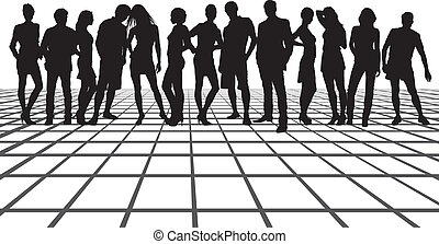 grupo amigos, ligado, a, quadrado