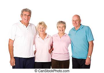 grupo, amigos, maduro, ejercicio