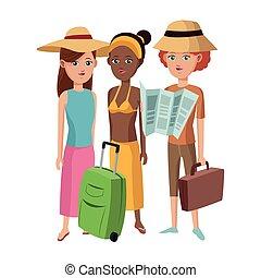 grupo, amigos menina, turista, viajante