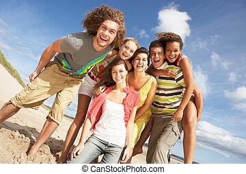 grupo amigos, tendo divertimento, ligado, verão, praia