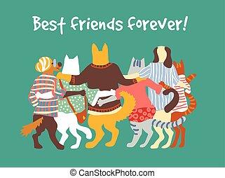 grupo, animal, amigos, hugs., gatos, animais estimação, amizade, cachorros