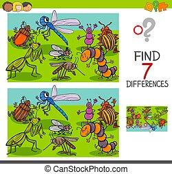 grupo, animal, insetos, diferenças, caráteres, achar