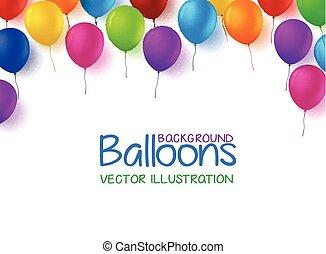 grupo, aniversário, balões, feliz