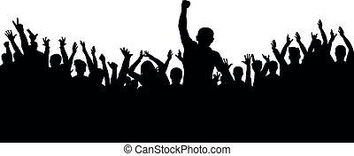 grupo, aplauso, torcida, pessoas, silhouette., alegre, ventiladores