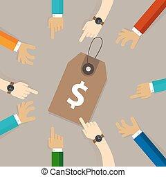 grupo, apontar, pessoas, preço, estratégia, tentar, desconto, tag, apreçar, equipe, agarramento, mão