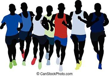 grupo, atletas, corredores