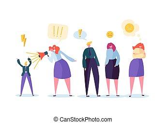 grupo, bahavior, ilustração, yell., violento, vetorial, zangado, caráteres, fazer, disputa, escândalo, woman., concept., alto, pessoas., agressivo, homem