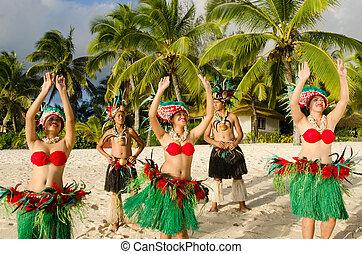 grupo, baile, isla, pacífico, tahitiano, polynesian