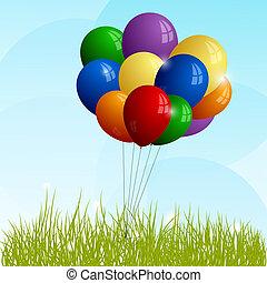 grupo, balões, capim, verde, cheio-cor