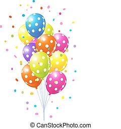 grupo, balões coloridos