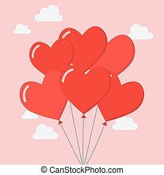 grupo, balões, coração