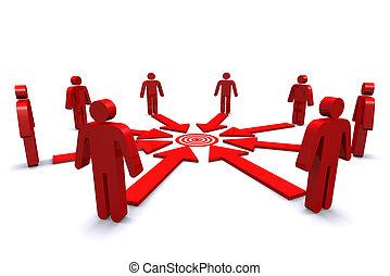 grupo, blanco, empresa / negocio, trabajadores, spot., rojo