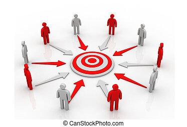 grupo, blanco, empresarios, círculo, apuntar