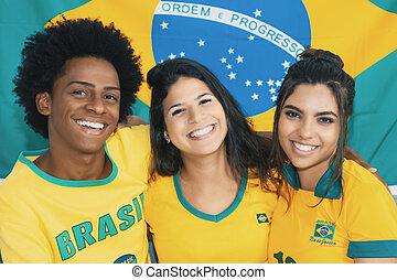 grupo, brasileño, feliz, futbol, mirada, retro, vendimia, ...