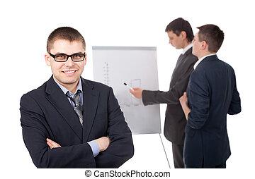 grupo, businesspeople, flipchart, isolado, fundo, branca