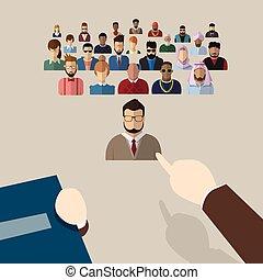 grupo, candidato, pessoas negócio, ponto, mão, recrutamento, pessoa, dedo, colheita