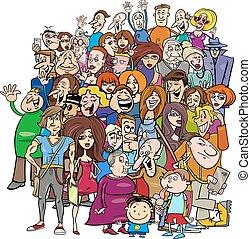 grupo, caricatura, multitud, gente
